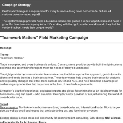 Josh Kern - Livingston Field Marketing Campaign - Playbook